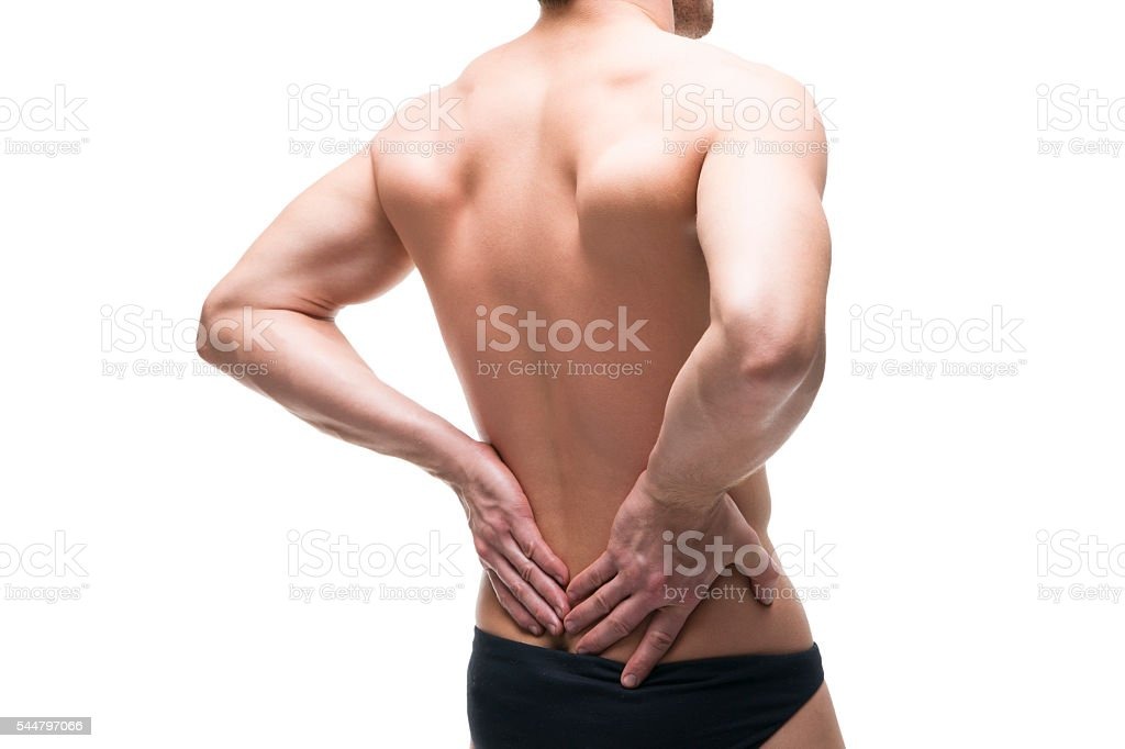 Man with backache isolated on white background stock photo