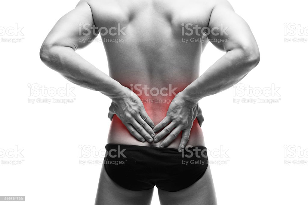 Man with backache stock photo