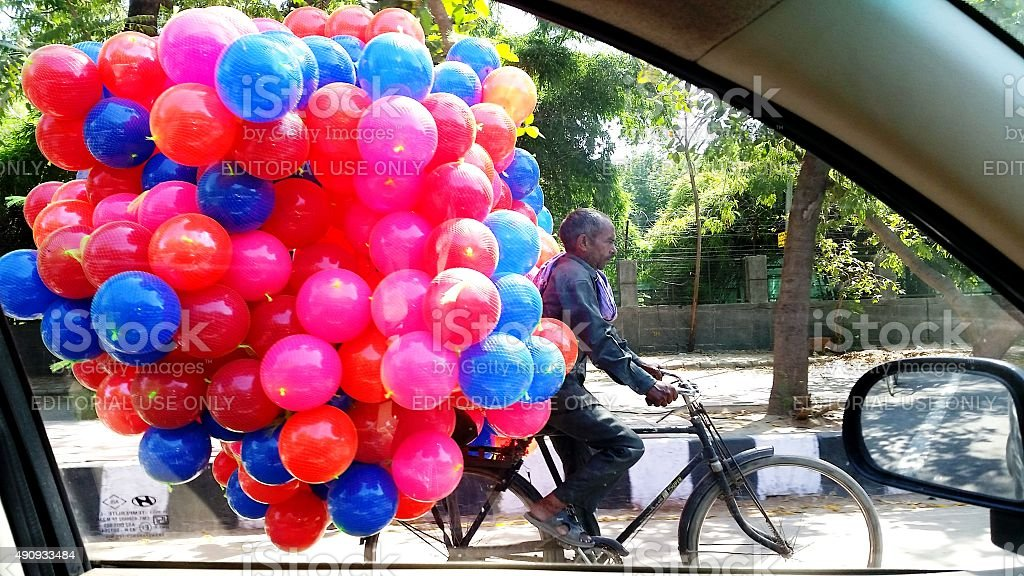 Man with Balloons stock photo