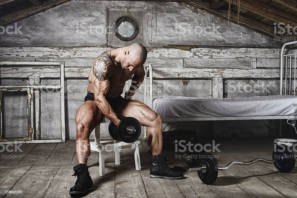 Man with barbell royalty-free stock photo