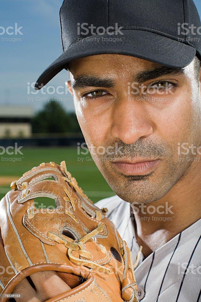 Man with baseball glove stock photo