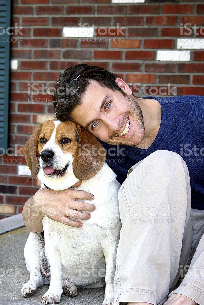 Man with Beagle royalty-free stock photo