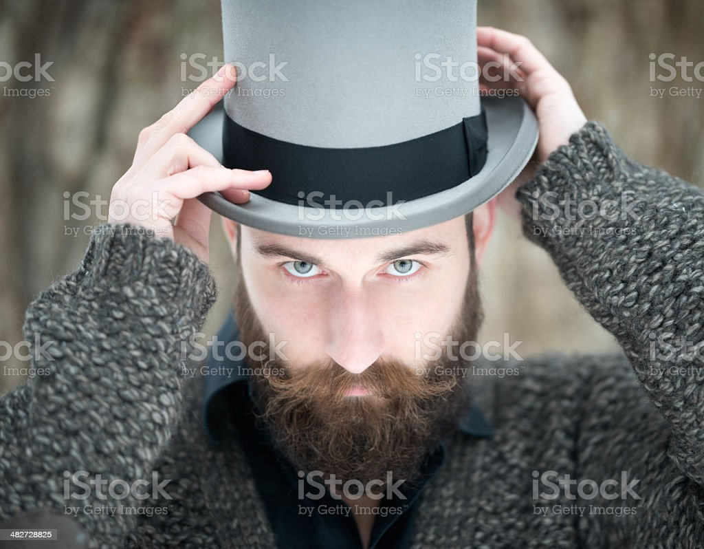 Man with Beard wearing a Stovepipe Tophat royalty-free stock photo