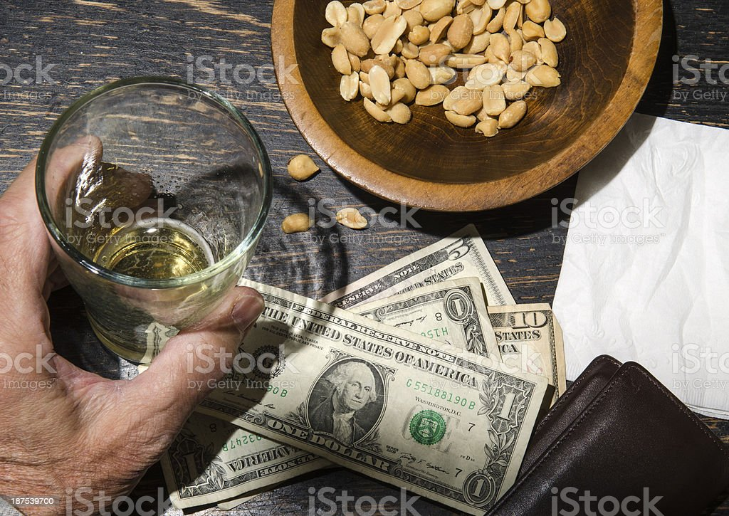 man with beer at bar stock photo