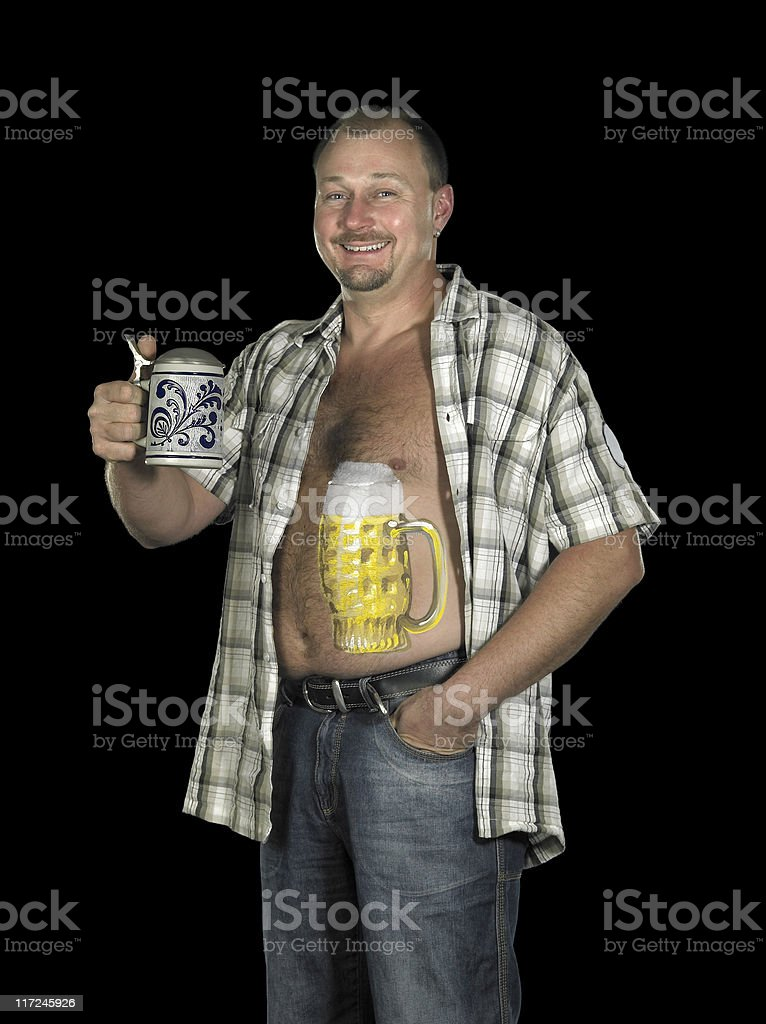 man with beer belly and stein royalty-free stock photo