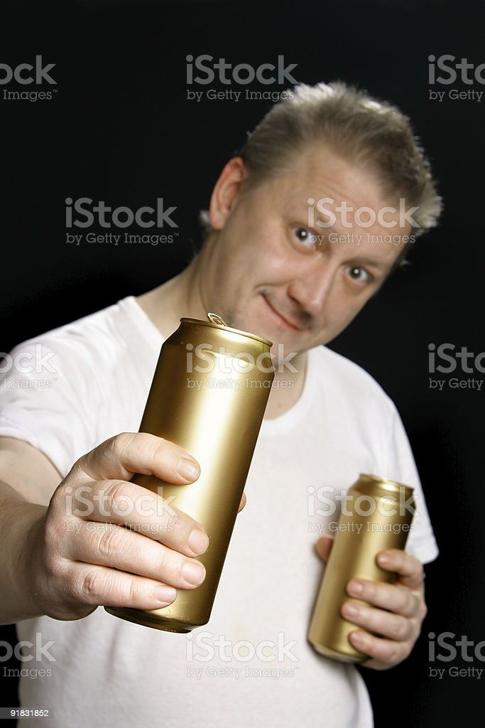 Man with beer cans royalty-free stock photo