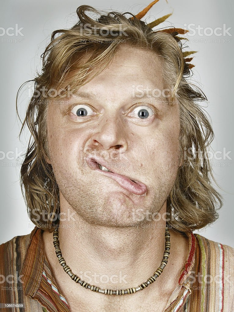 Man with bended lips stock photo