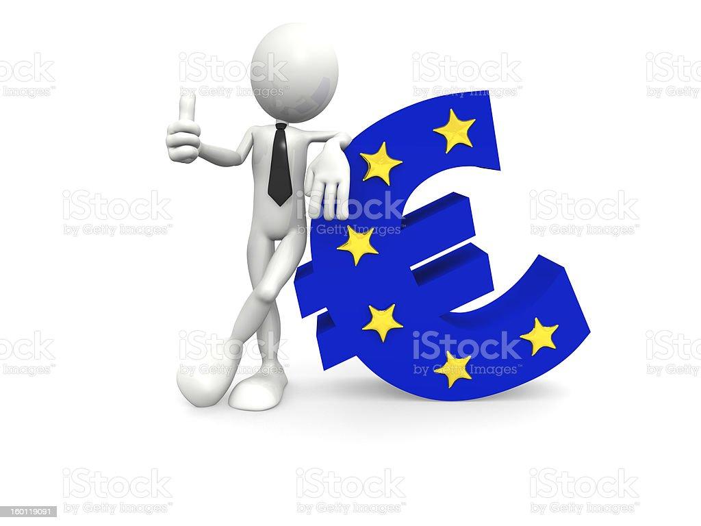 Hombre con gran símbolo de euro foto de stock libre de derechos
