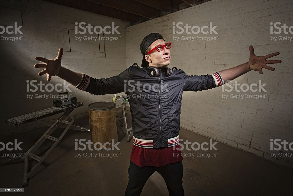 Man with Big Gesture stock photo