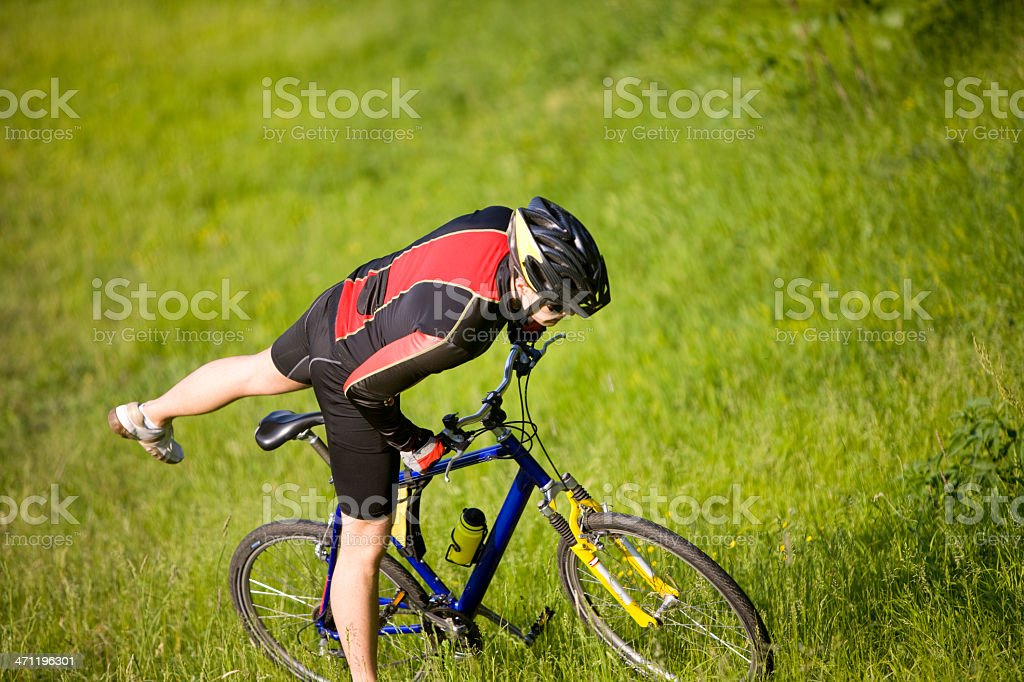 Man with bike royalty-free stock photo