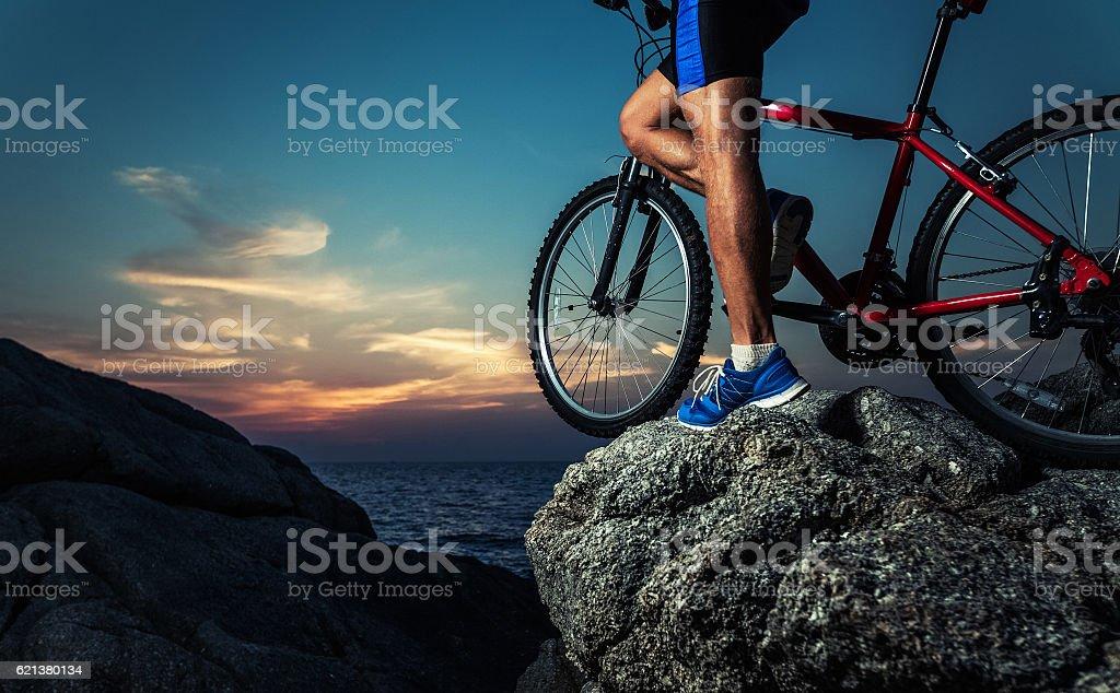 Man with bike stock photo