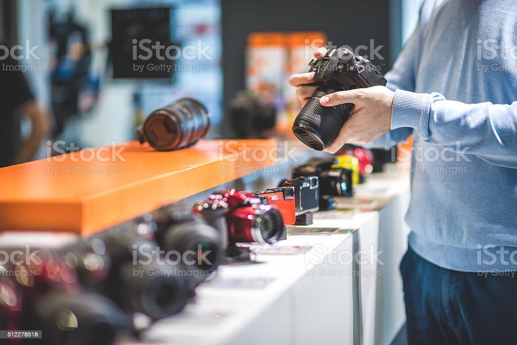 Man with black camera stock photo