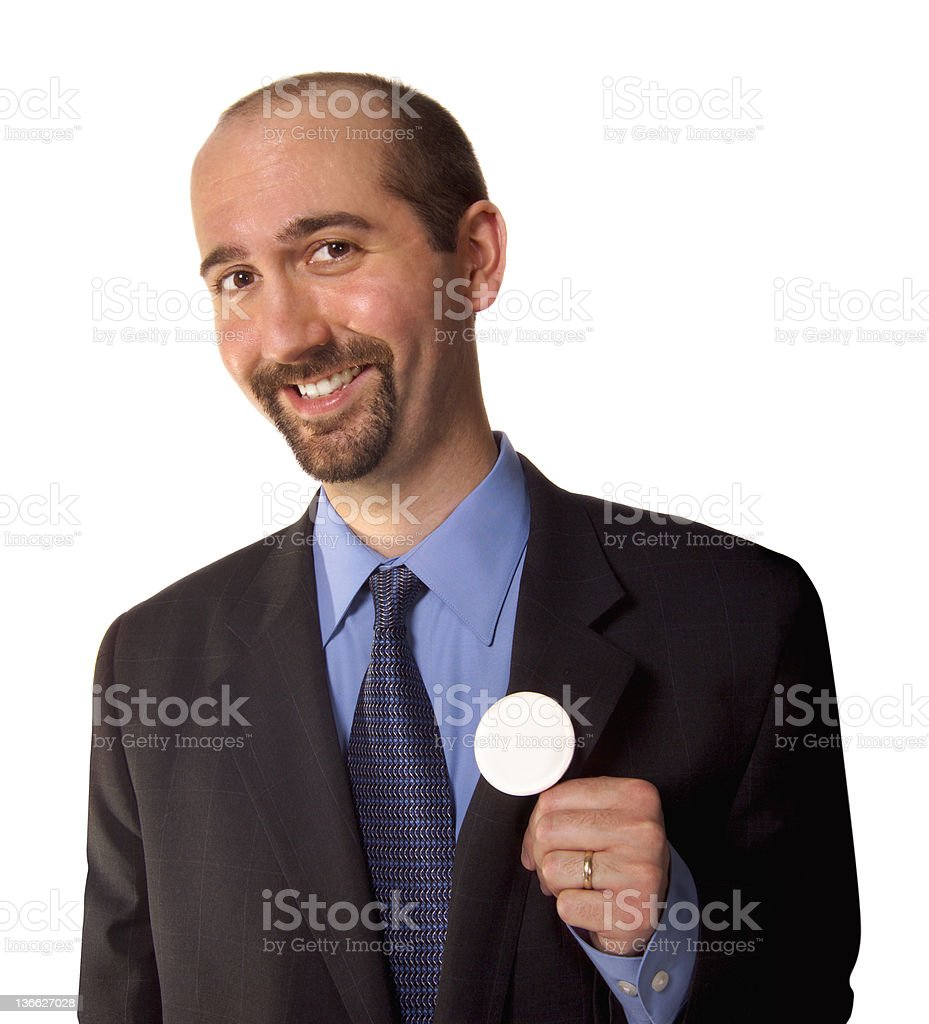 man with blank button royalty-free stock photo