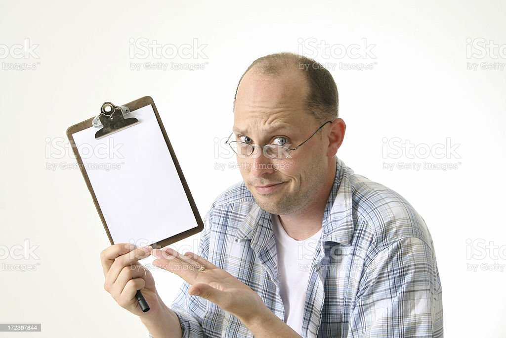 Man with blank clipboard stock photo