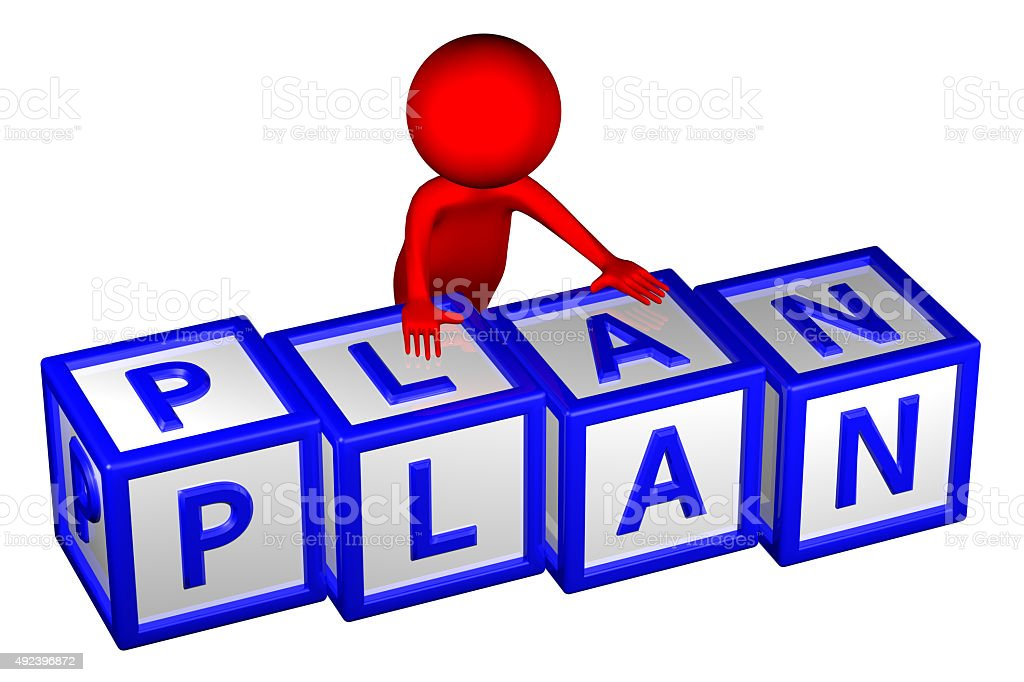3D Man with blocks with word plan stock photo