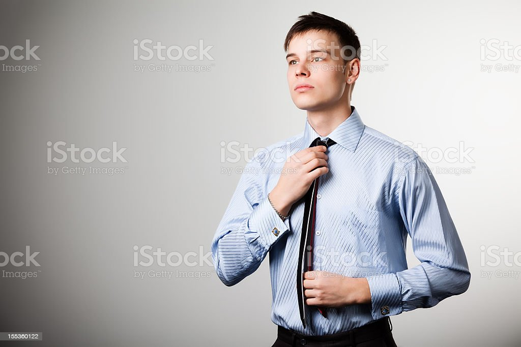 Man with blue shirt stock photo