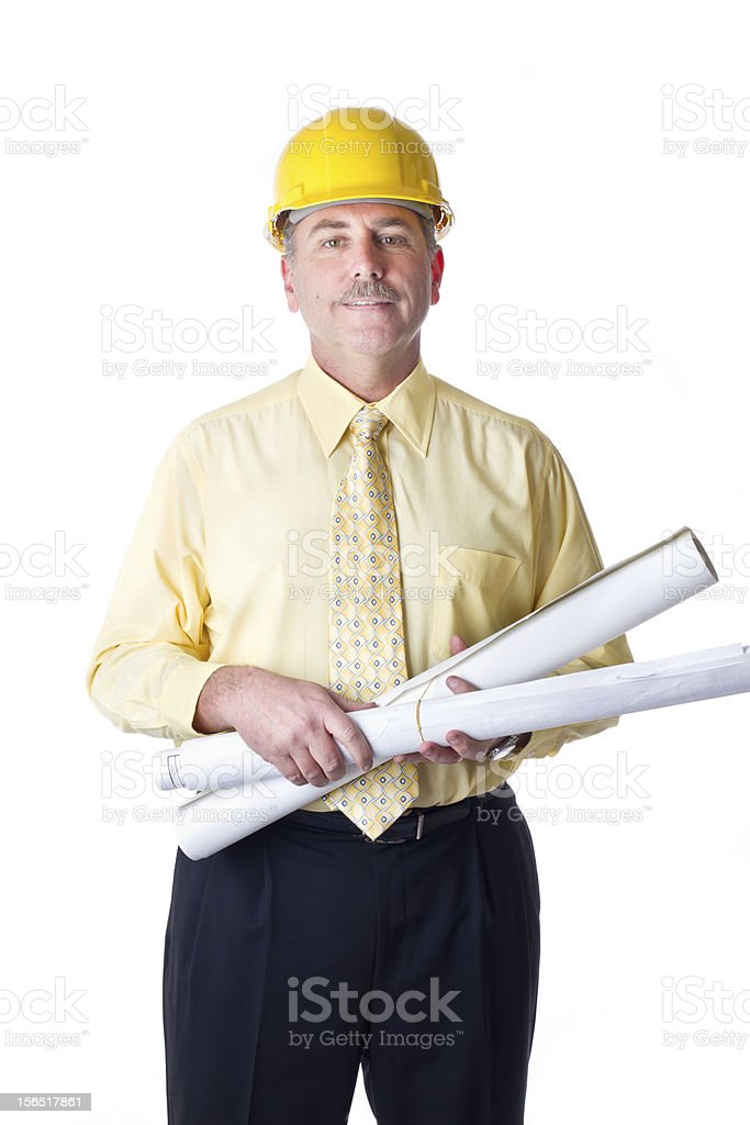 Man with Blueprints royalty-free stock photo