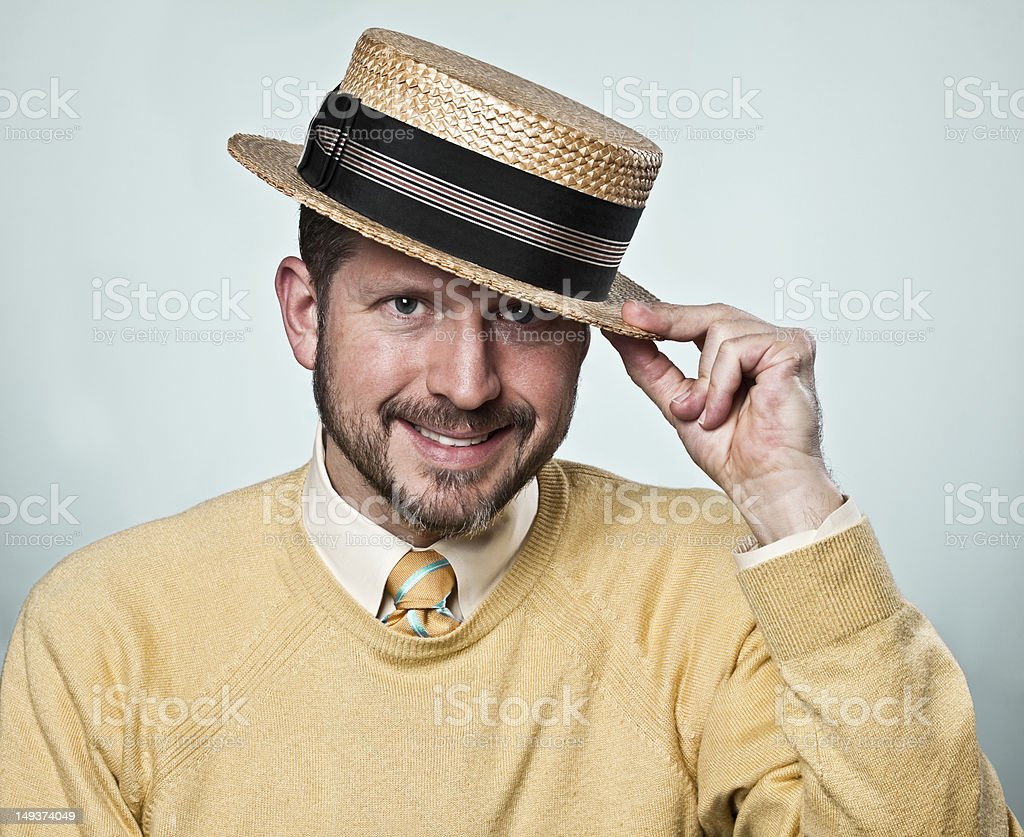 Man with Boater Hat stock photo