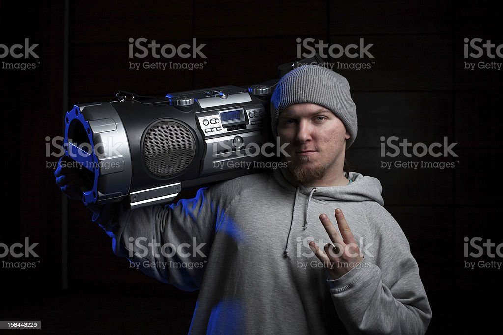 Man with boombox royalty-free stock photo