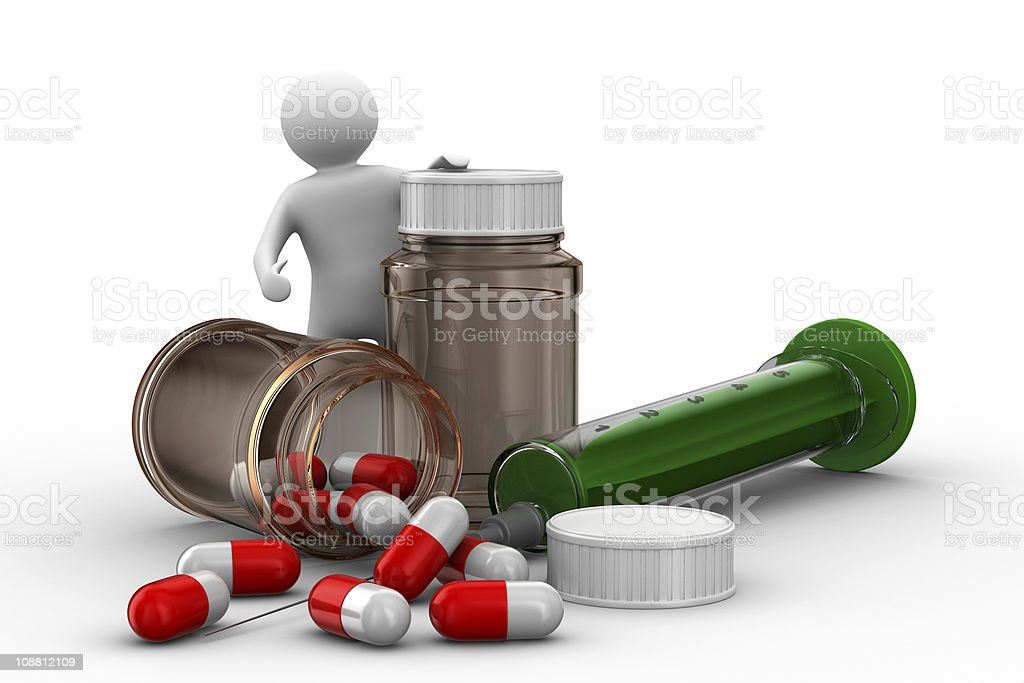 man with bottle for tablets. Isolated 3D image royalty-free stock photo