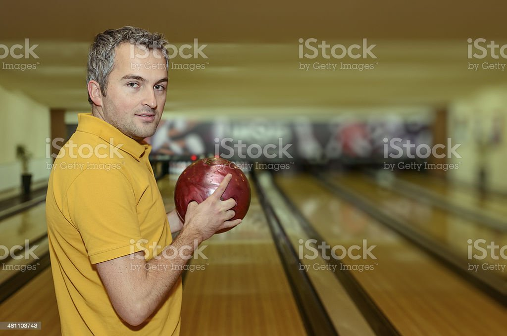 man with bowling ball royalty-free stock photo