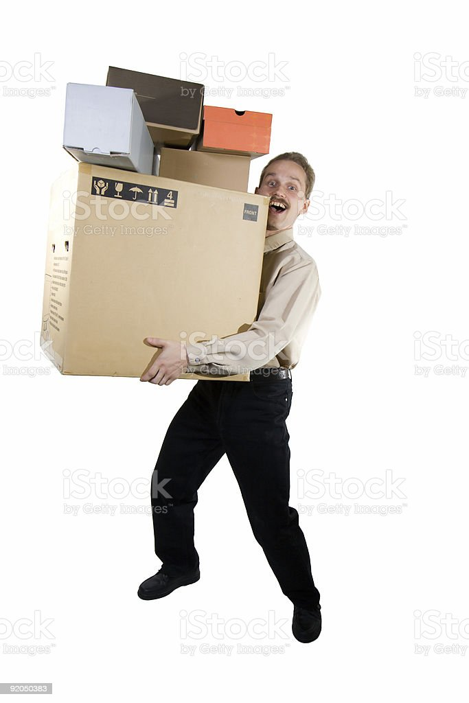 Man with boxes royalty-free stock photo