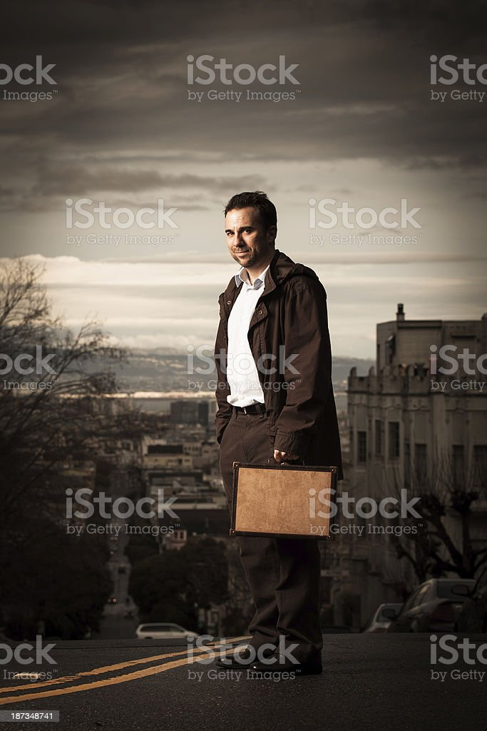 Man with Briefcase on San Francisco Street stock photo
