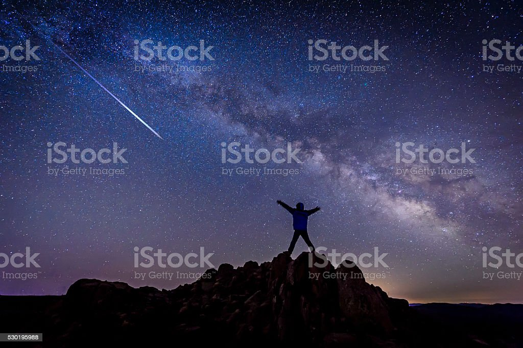 Man with Bright shooting star under Milky Way Galaxy stock photo