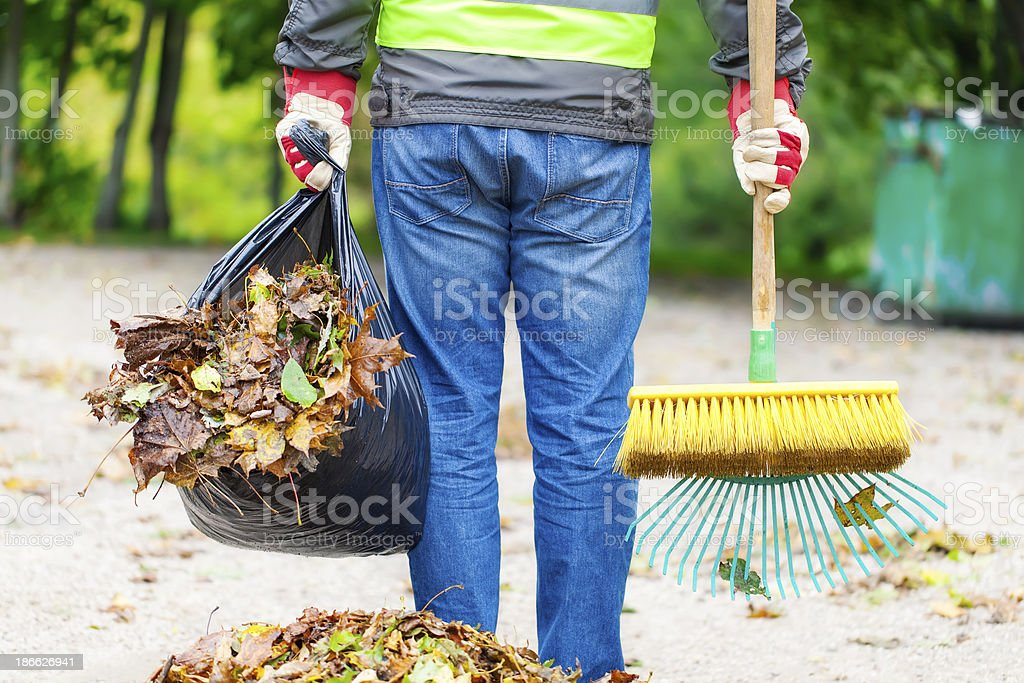 Man with brush stock photo