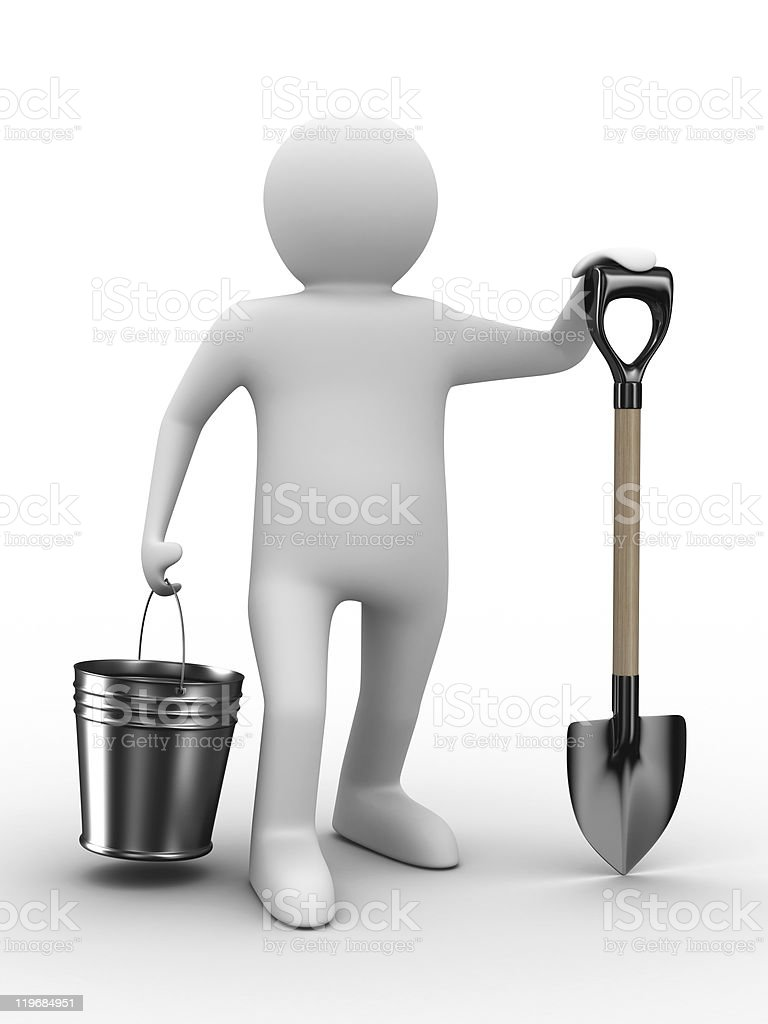 Man with bucket and shovel on white background royalty-free stock photo