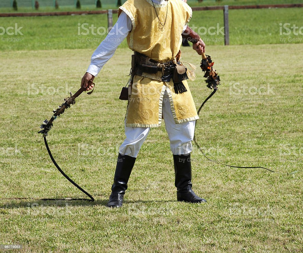 man with bullwhips stock photo