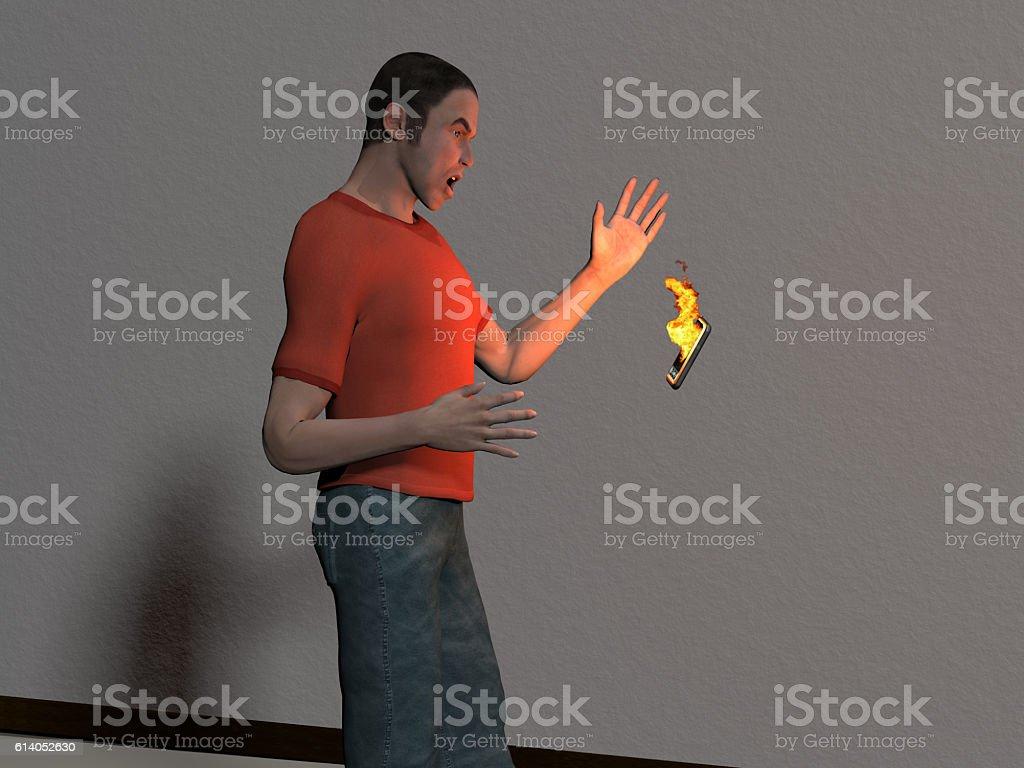 man with burning smart phone stock photo