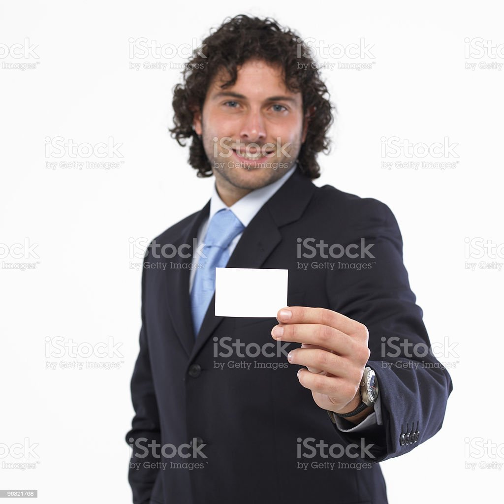 Man with business card in the hand royalty-free stock photo
