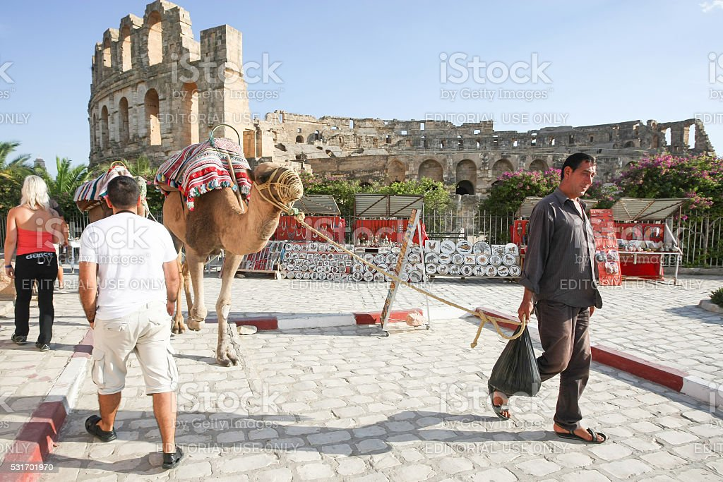Man with camels in El Jem stock photo