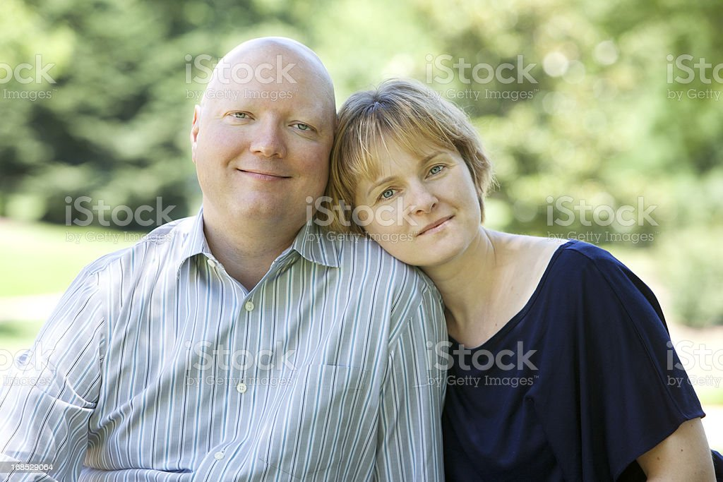 Man with Cancer and His Wife stock photo