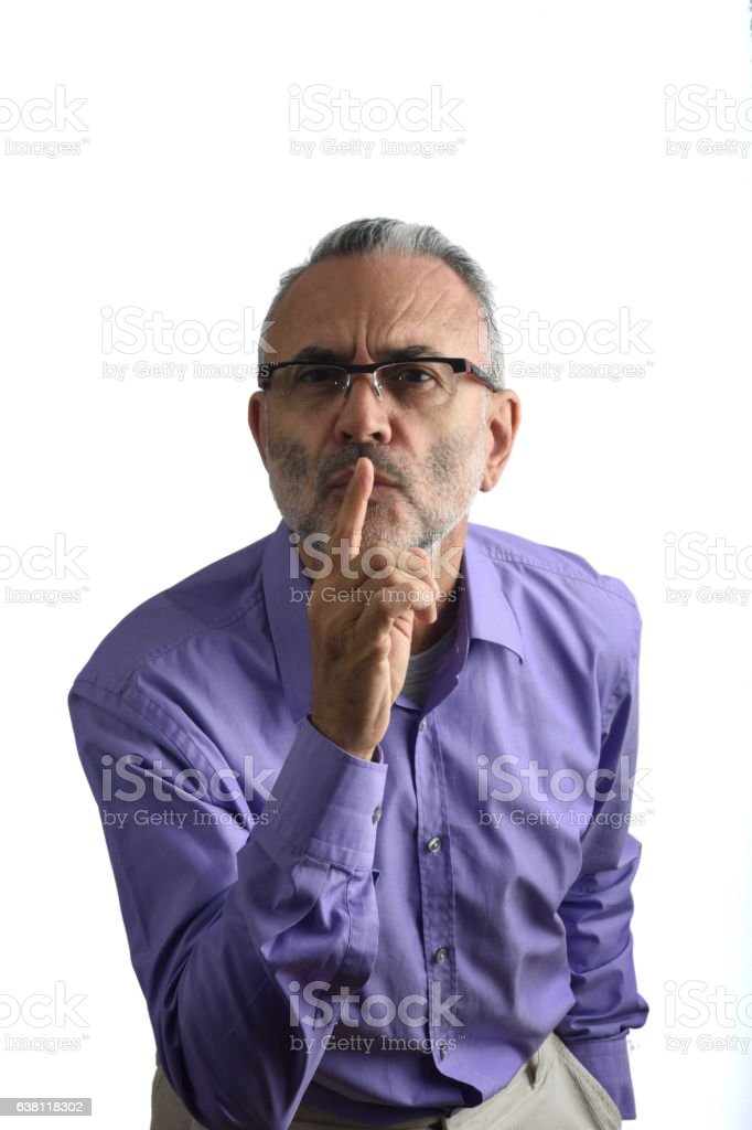 Man with capped lips stock photo