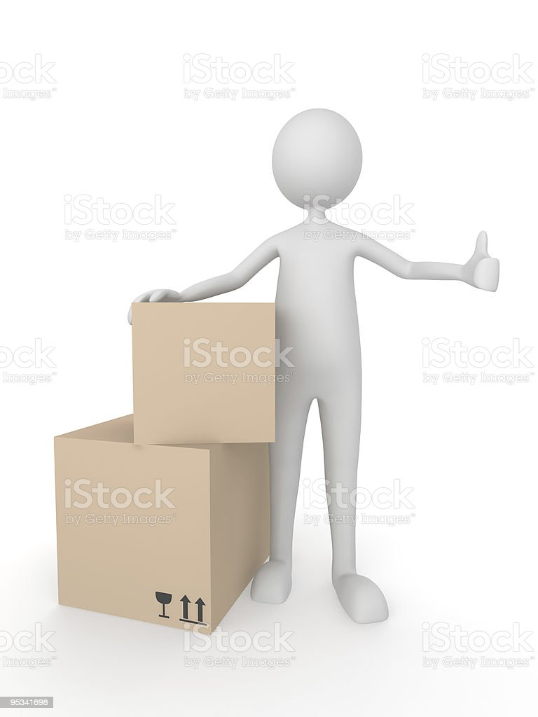 Man with cardboard boxes showing thumbs up royalty-free stock vector art