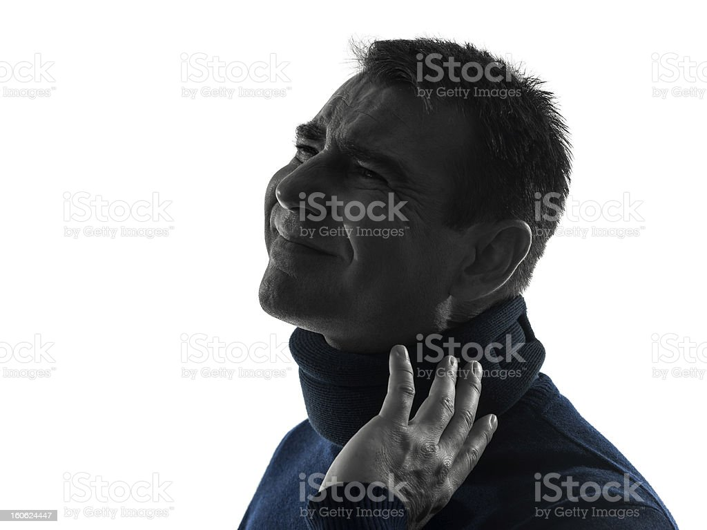man with cervical collar neckache silhouette portrait royalty-free stock photo