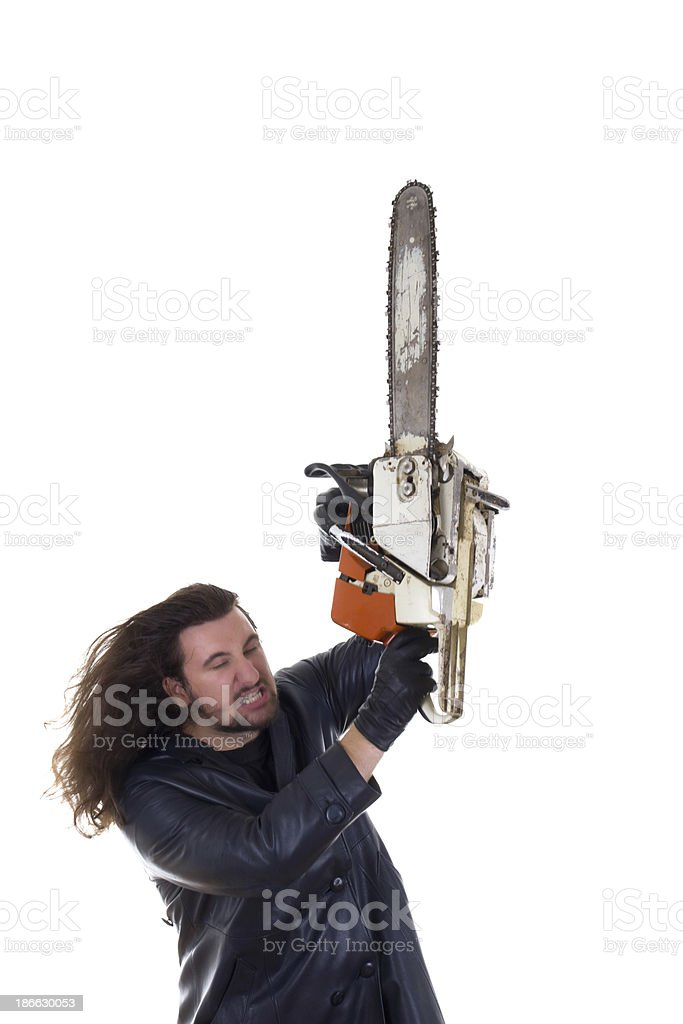 man with chainsaw in rage royalty-free stock photo