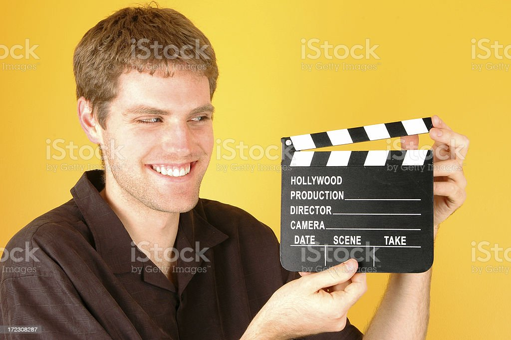 Man with Clapboard stock photo