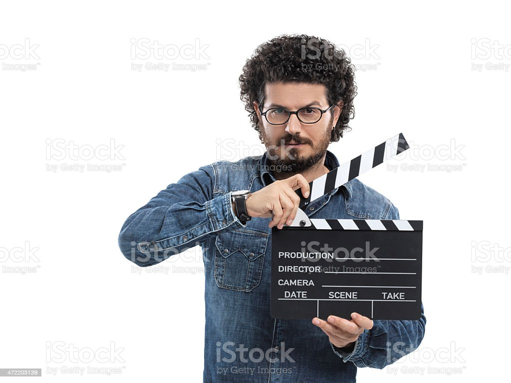 Man with clapperboard royalty-free stock photo