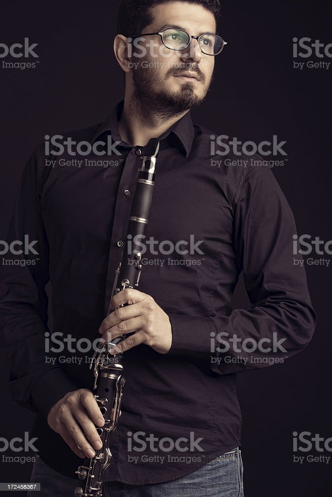 Man with Clarinet royalty-free stock photo