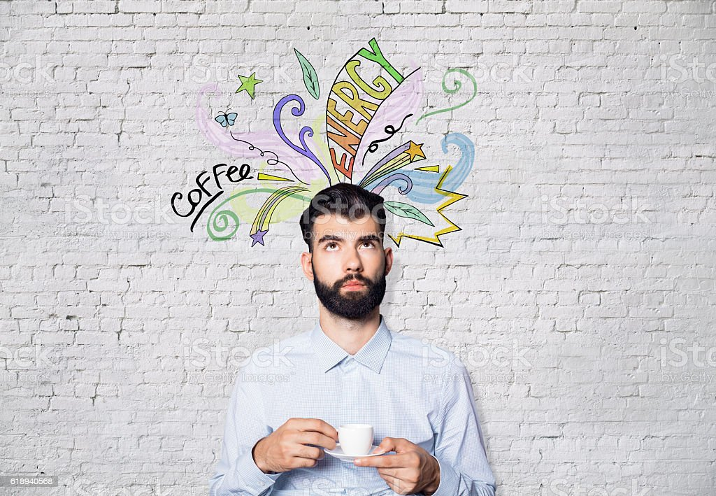 Man with coffee sketch stock photo