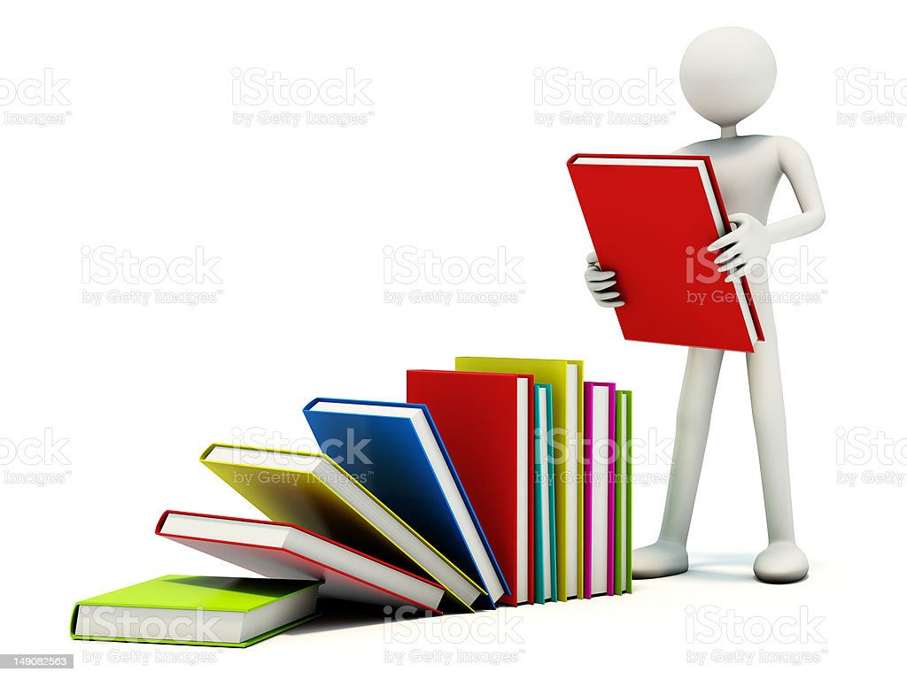 Man with colored books royalty-free stock photo