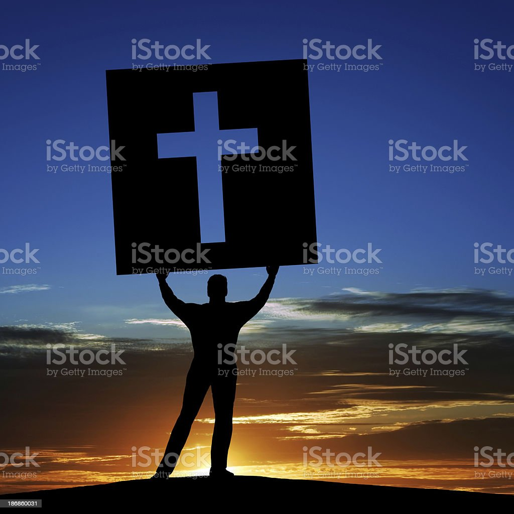 XL man with cross sign royalty-free stock photo