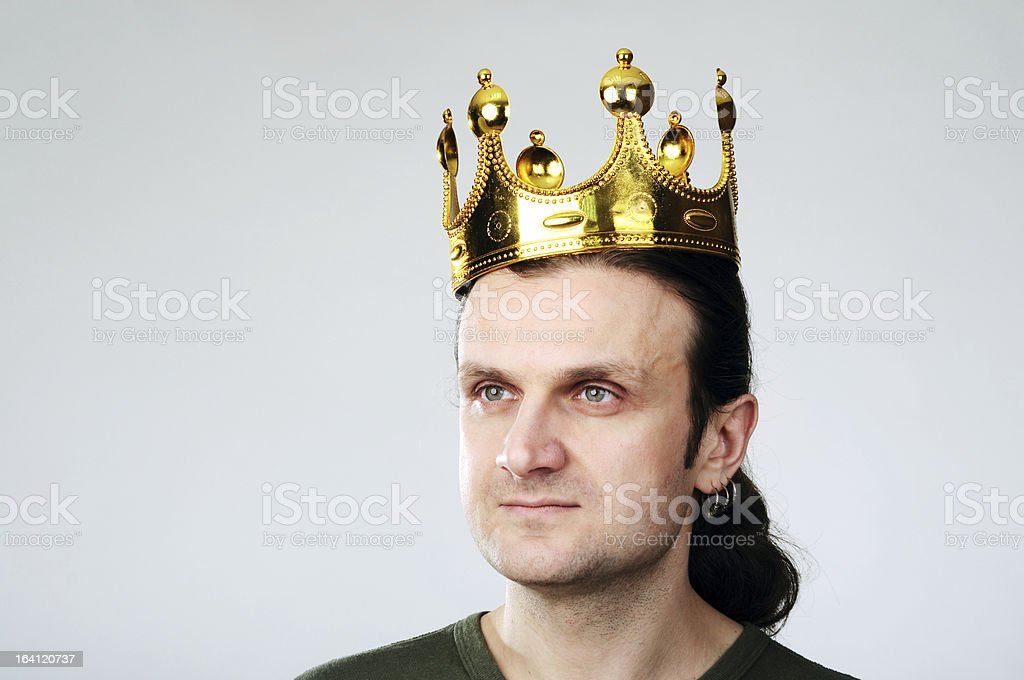 Man with crown royalty-free stock photo