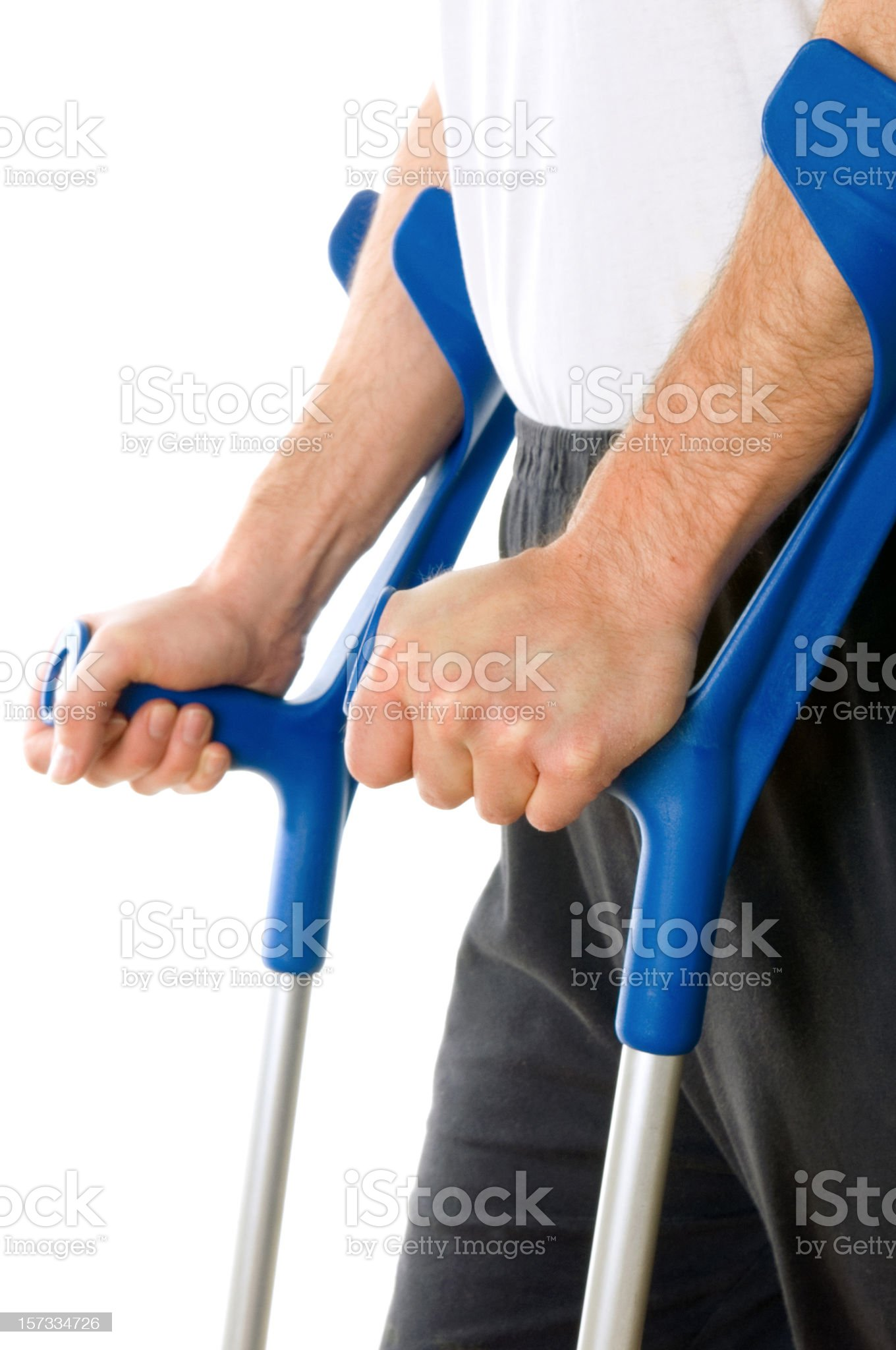 Man with crutches royalty-free stock photo