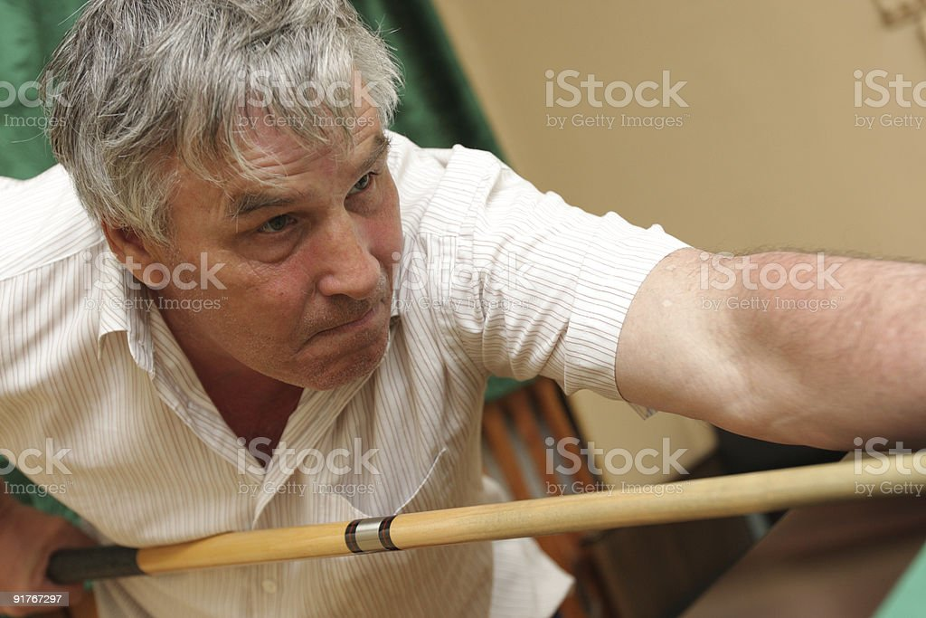 Man with cue stock photo