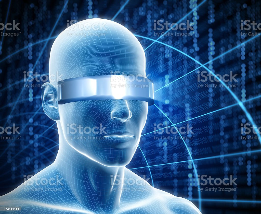 Man with cyber visor royalty-free stock photo