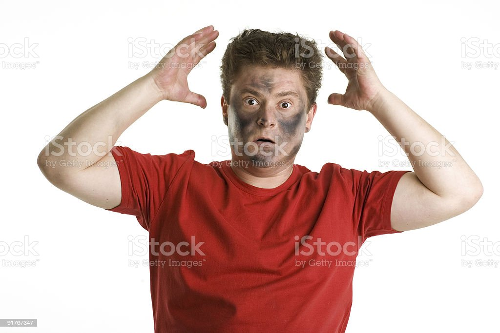 Man with dirty face in horror. royalty-free stock photo